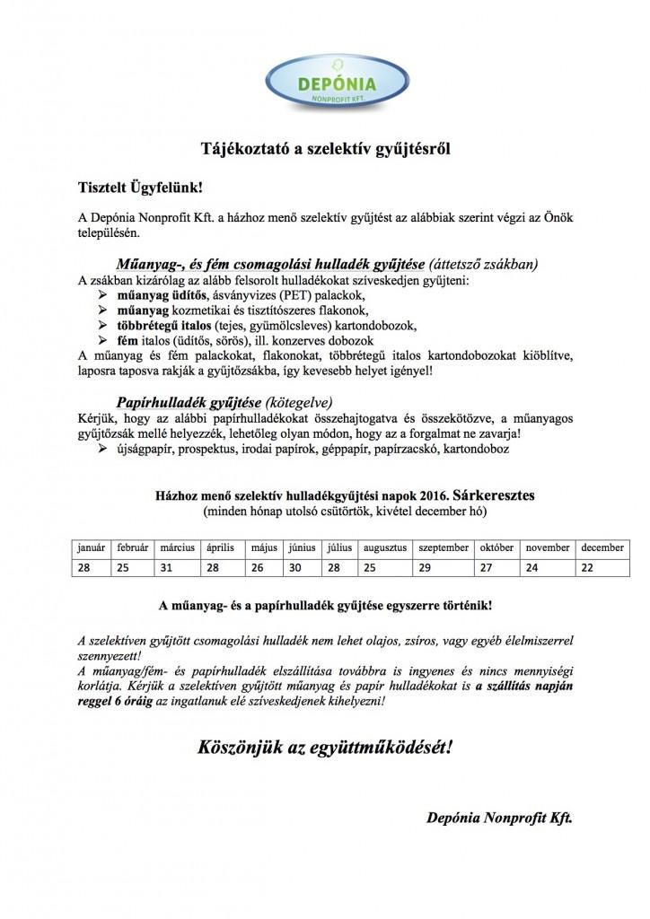 Tájékoztató a szelektív gyűjtésről 2016 Sárkeresztes
